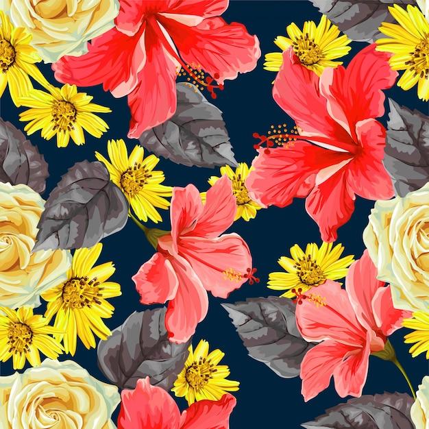 Flower seamless pattern Premium Vector