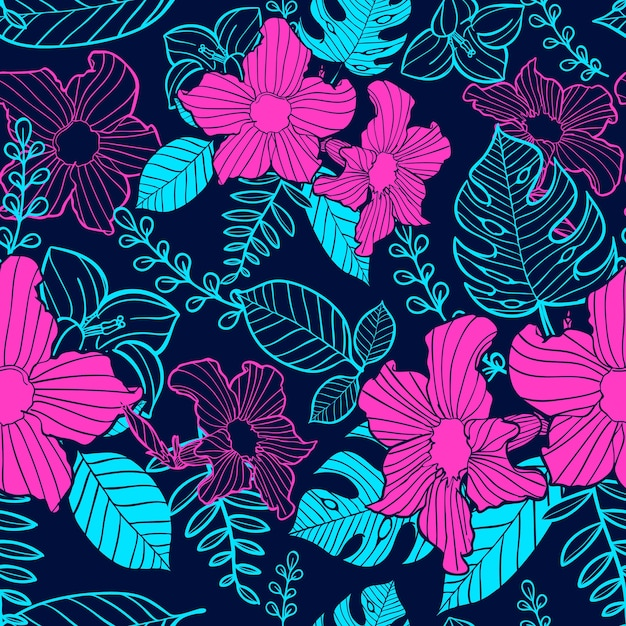 flower seamless pattern Premium Vector