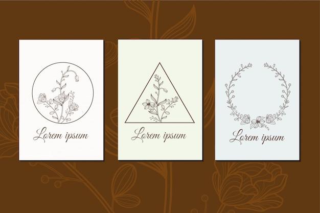 花セットラインアート装飾デザインイラスト Premiumベクター