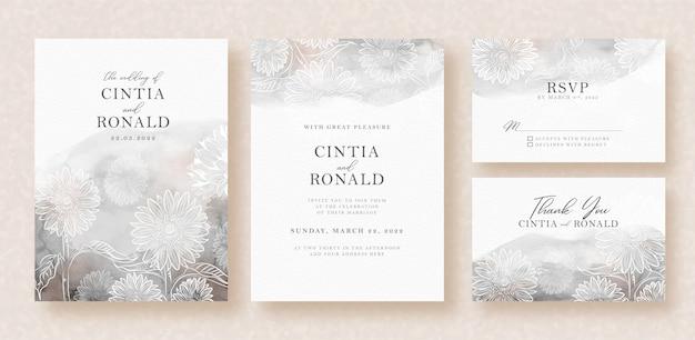 スプラッタ背景の結婚式のカードの花の形 Premiumベクター