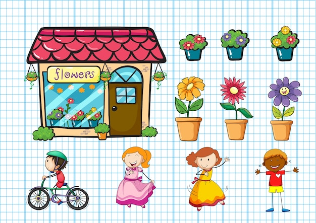 Flower shop and potted plants illustration Free Vector