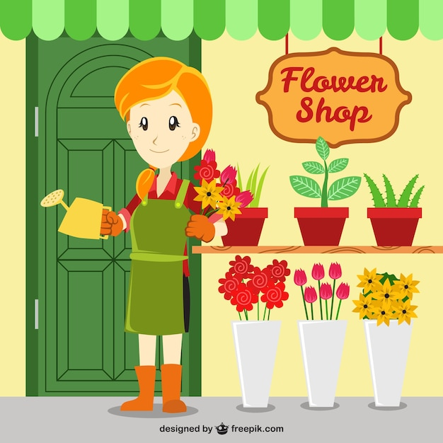 Flower shop vector free download - Fleuriste dessin ...