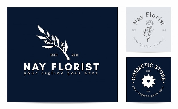 Цветочный силуэт на шаблоне логотипа флориста Premium векторы