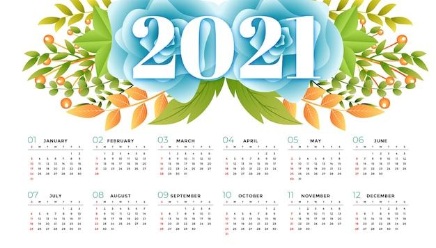 Цветочный шаблон календаря 2021 года Бесплатные векторы