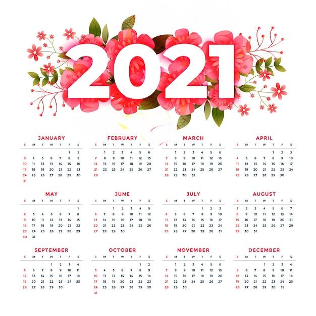 Цветочный стиль 2021 современный календарь стильный дизайн шаблона Бесплатные векторы