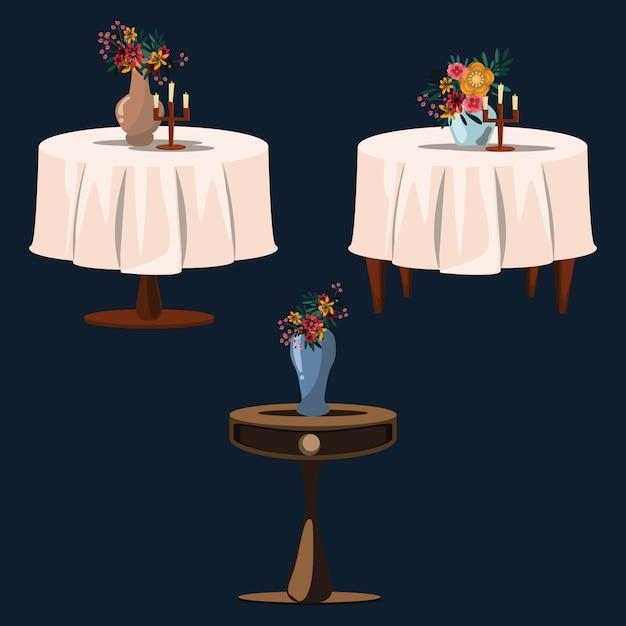Flower on tables set vector illustration Premium Vector