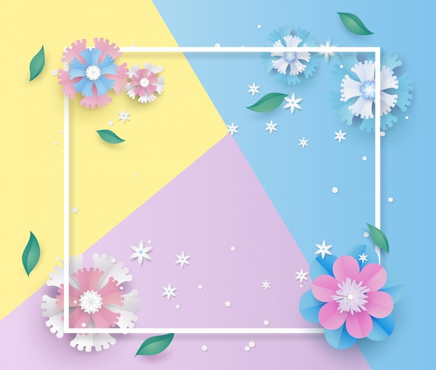 Flower template and frame in paper cut concept. Premium Vector