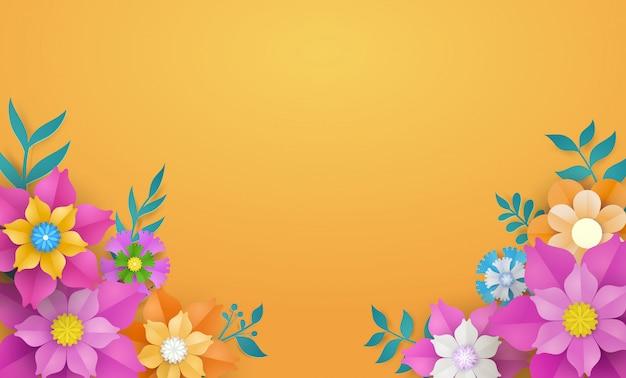 Flower template in paper cut concept. Premium Vector