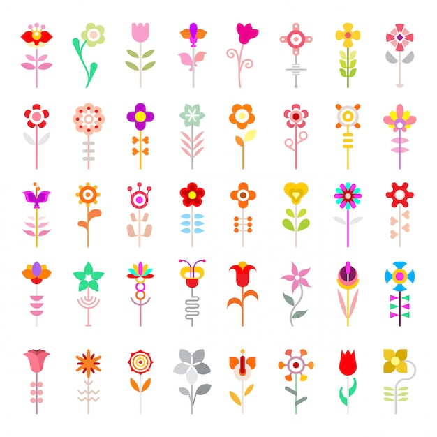 Flower vector icons Premium Vector