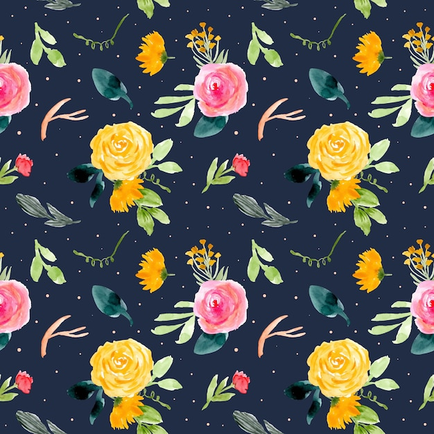 Flower watercolor seamless pattern with dark background Premium Vector