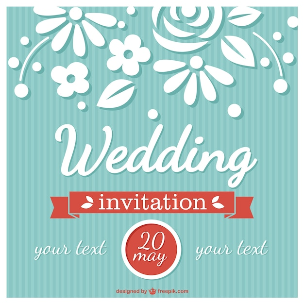 Flower Wedding Card Retro Style Vector Free Download