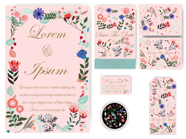 Flower wedding card and tag Premium Vector