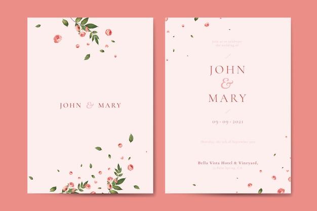 Flower wedding invitation card template vector Premium Vector