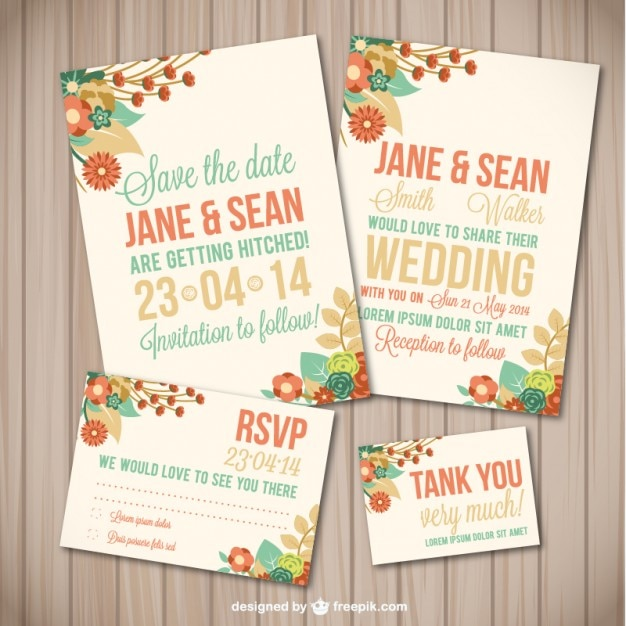 Flower wedding template wood texture  Free Vector