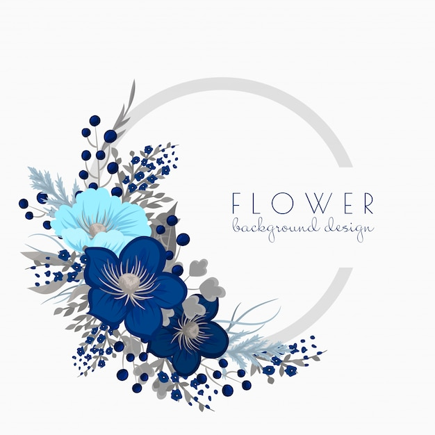 Flower wreath drawing  blue circle frame with flowers Free Vector