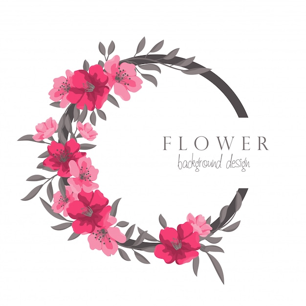 Flower wreath drawing hot pink circle frame with flowers Free Vector