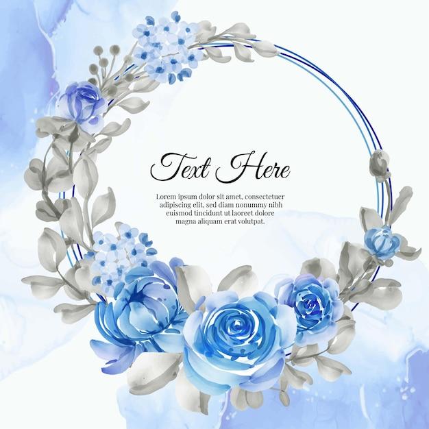 Flower wreath frame of flower blue Premium Vector