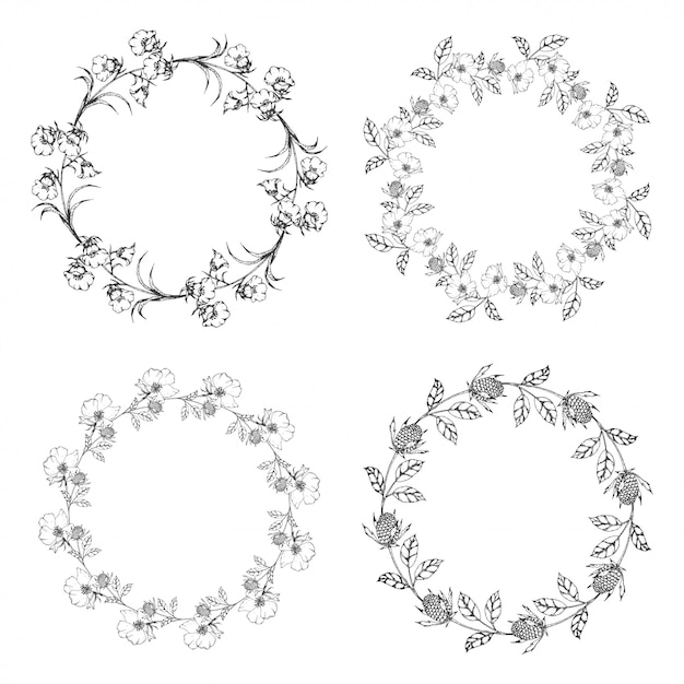 Flower wreath hand drawn collection empty flower frame for text Premium Vector