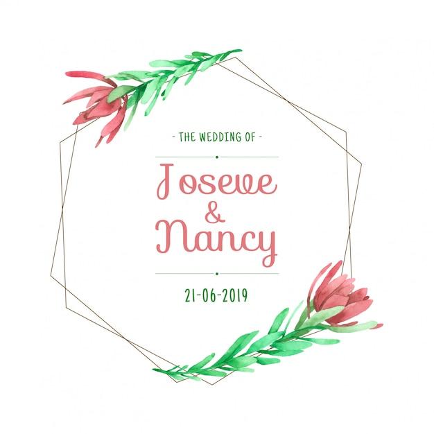 Flower wreath hand drawn wedding card template Premium Vector