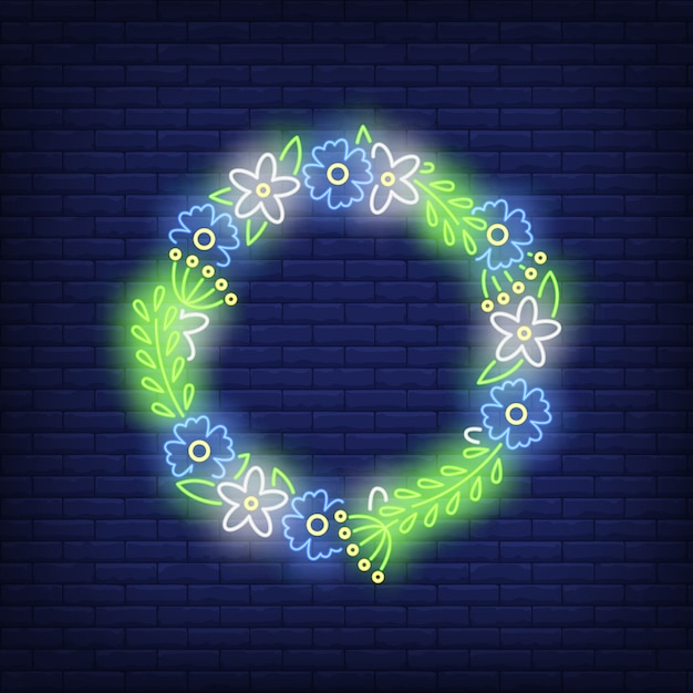 Flower wreath neon sign Free Vector