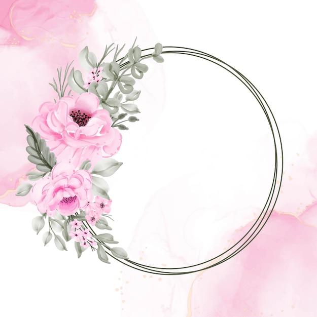 Цветочный венок розовый иллюстрация акварель Бесплатные векторы