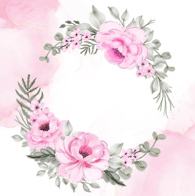 꽃 화환 핑크 일러스트 수채화 프리미엄 벡터
