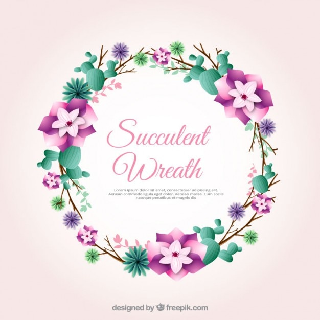 Flower wreath with cactus