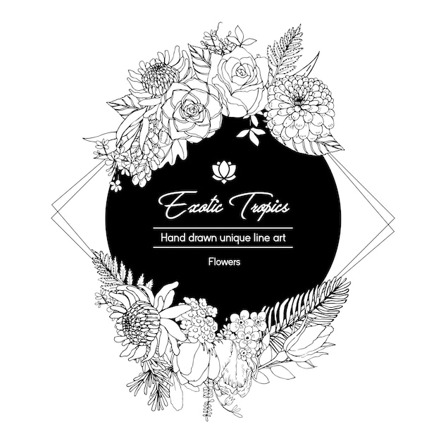 Flower wreath with line art tropical   illustration romantic  frame Free Vector