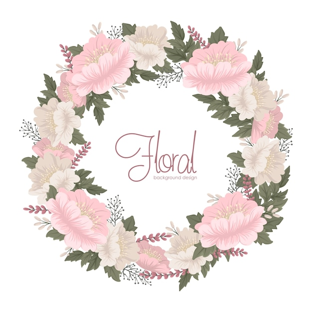 Flower wreaths drawing  pink floral card Free Vector