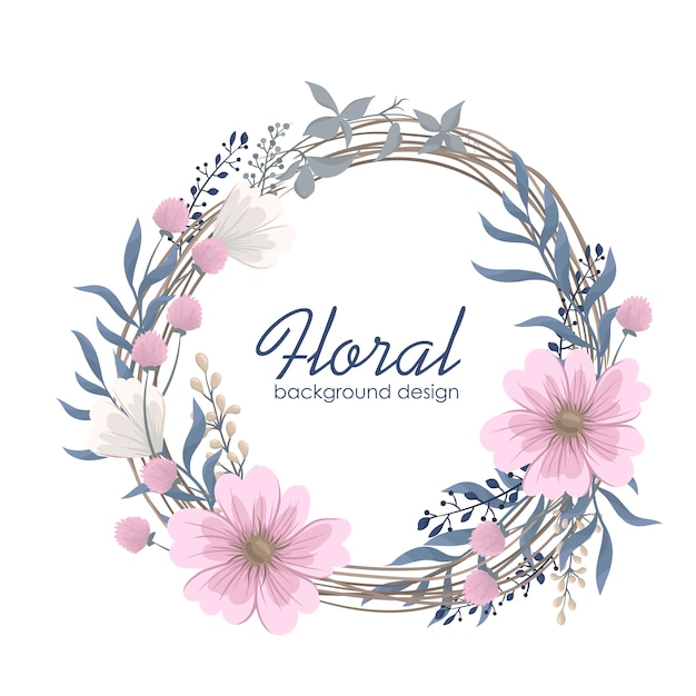 Flower wreaths drawing - pink flowers Free Vector