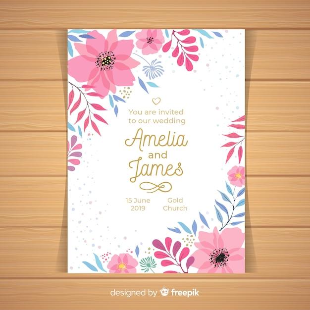 Flowered corners wedding invitation template Free Vector