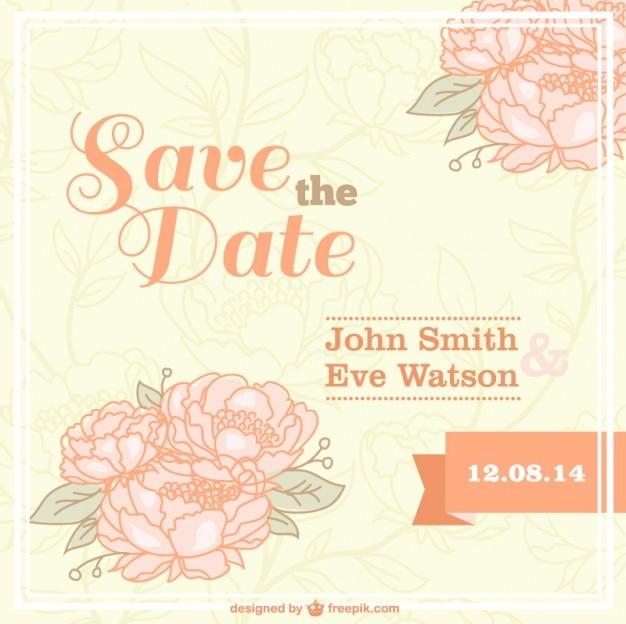 Flowered vintage wedding card Vector | Free Download