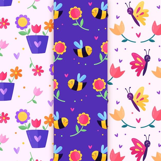 花とミツバチ春のシームレスなパターン Premiumベクター