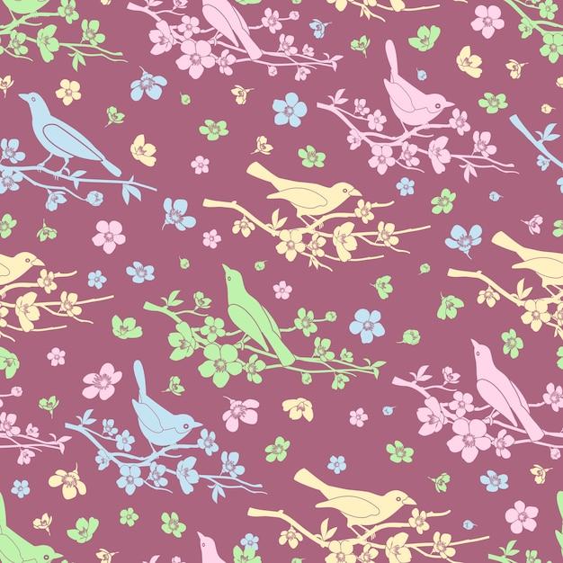 꽃과 새 원활한 배경입니다. 꽃과 가지, 장식 패턴, 사랑과 로맨틱, 벡터 일러스트 레이션 무료 벡터
