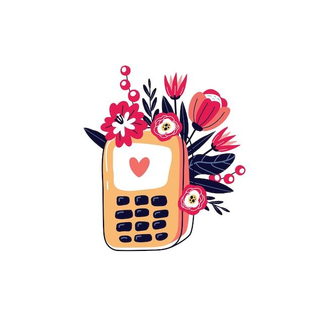 花と携帯電話。花の携帯電話。幸せなバレンタインデー Premiumベクター