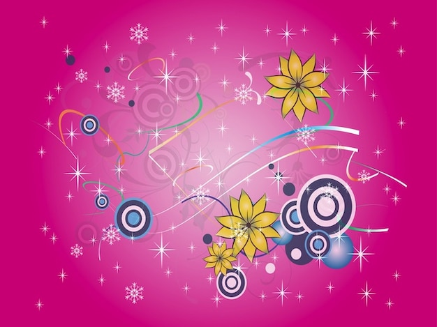 Flowers and snowflakes on pink\ background