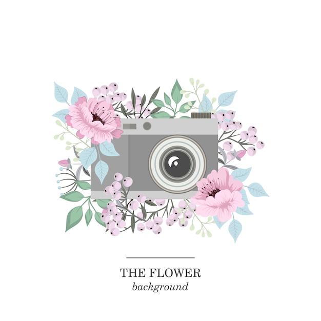 Flowers background illustration Premium Vector