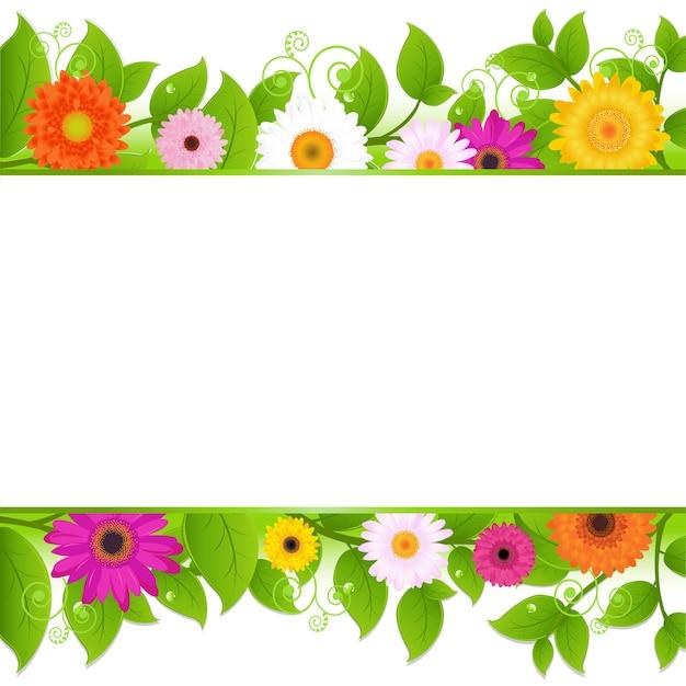 葉、イラストと花の背景 Premiumベクター