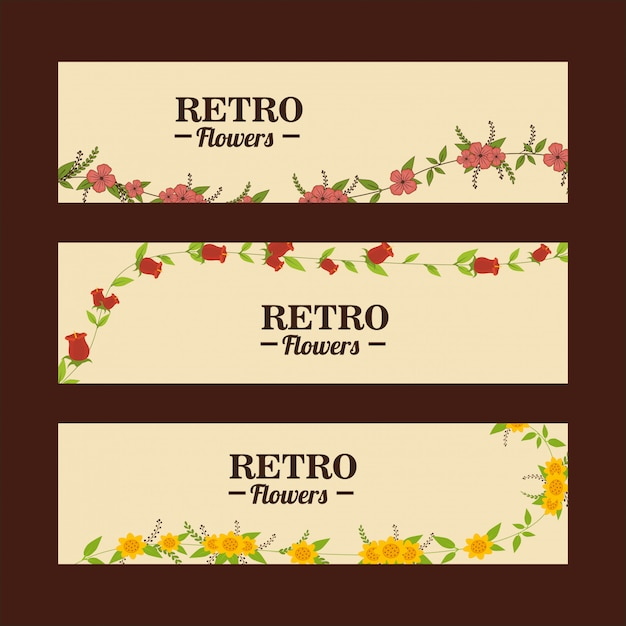 Flowers banner template set Free Vector
