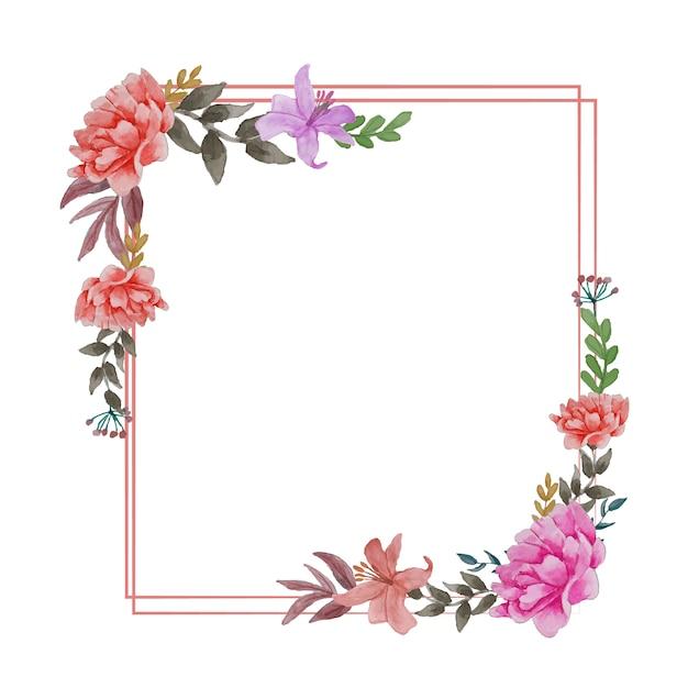 Цветы красивый венок элегантная цветочная коллекция с изолированными синими розовыми листьями и цветами рисованной акварелью Premium векторы
