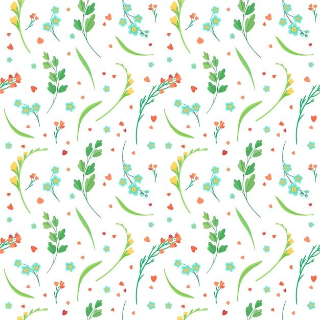 Цветы цветет и оставляет плоский ретро бесшовные модели. Бесплатные векторы