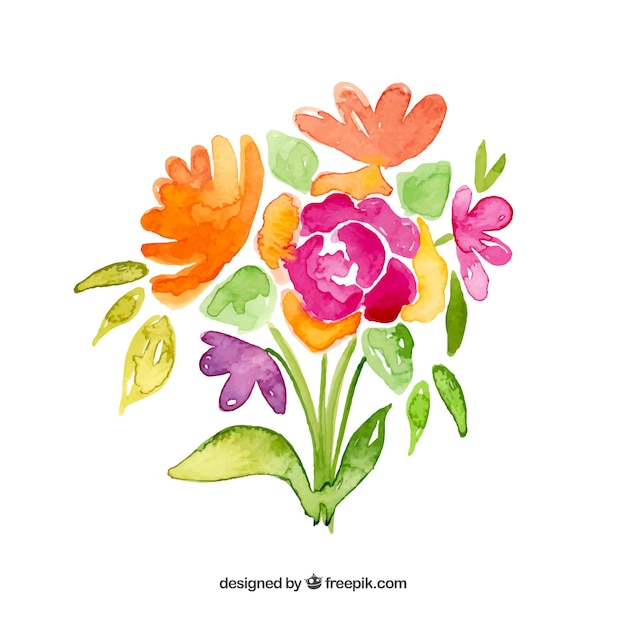 Flowers bouquet in watercolor style Vector | Free Download