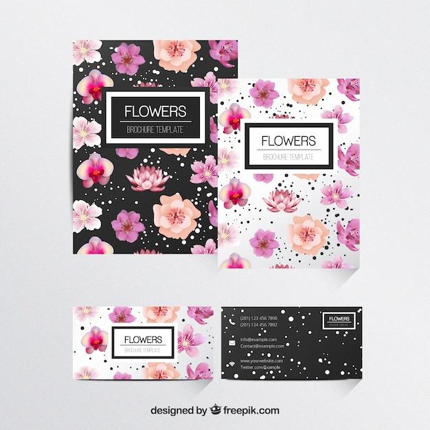 Flowers Brochures Template Vector