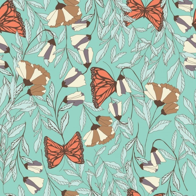 Flowers and butterflies pattern Free Vector