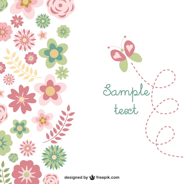 Flowers and butterfly background Free Vector