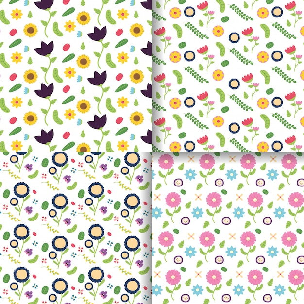Flowers decoration banner collection flower decoration pink, purple, yellow flowers illustration Free Vector