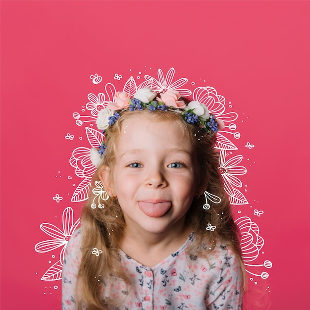 Цветы рисуют над маленькой девочкой Бесплатные векторы