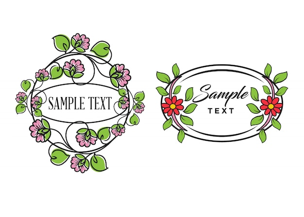 Flowers emblems frames and logo with beauty studio lettering composition Premium Vector