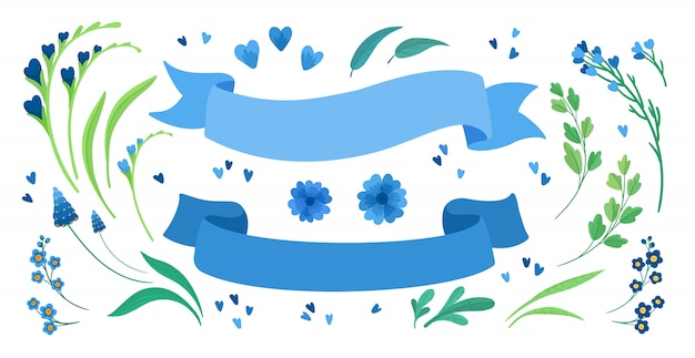 Flowers and empty ribbons flat  illustrations set. blooming meadow wildflowers, green leaves and hearts greeting, invitation card design elements pack. blank blue stripes isolated decorations Free Vector