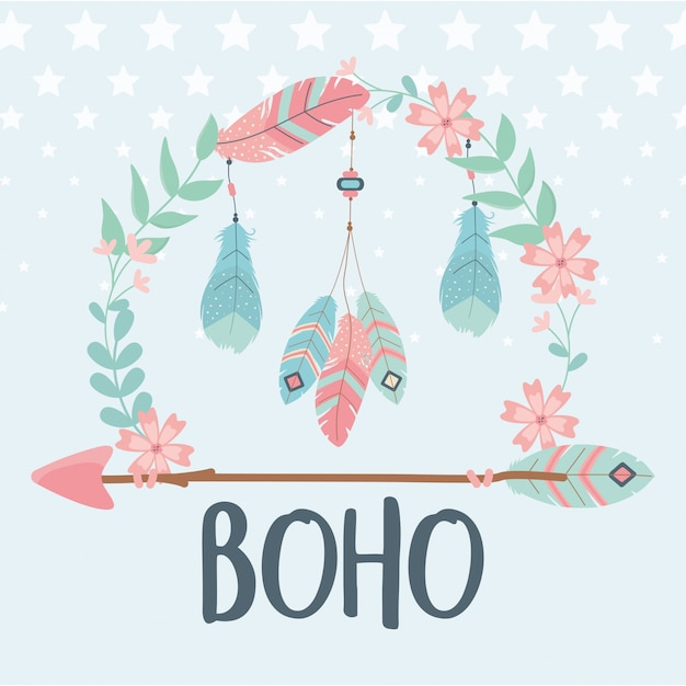 Flowers and feathers with arrows decoration boho style Premium Vector